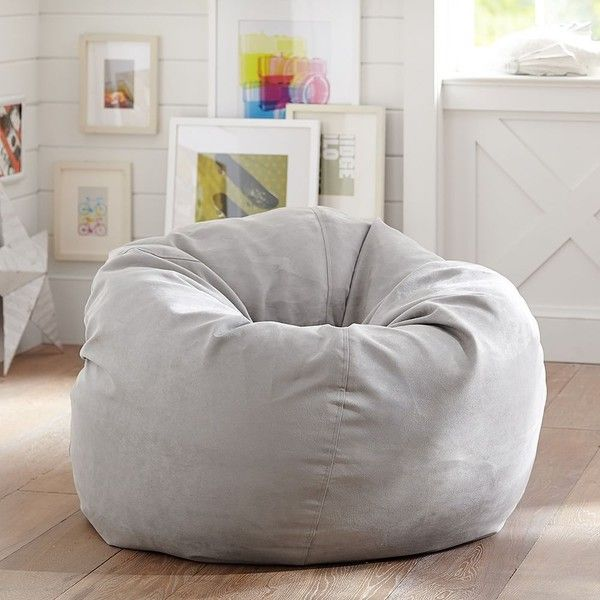 PB Teen Light Grey Suede Beanbag, Slipcover Only at Pottery Barn Teen... (2630 TWD) ❤ liked on Polyvore featuring home, furniture, chairs, accent chairs, grey, plush chair, gray accent chair, grey chair, light grey chairs and bean bag