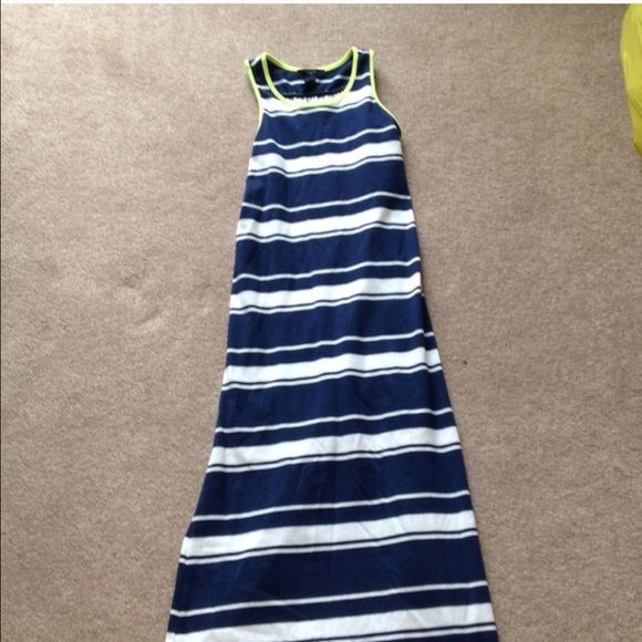 Gap Kids Maxi Dress Girls size large navy and white maxi dress with lime green trim. PS GAP Dresses Maxi