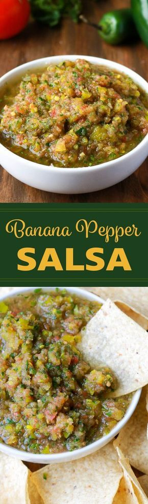 Banana Pepper Salsa | Tangy, vinegary, salsa made with banana peppers and ready in 5 minutes!