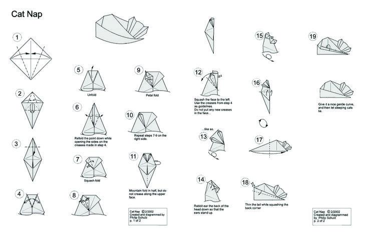 sleeping origami cat Origami cat, Origami cat