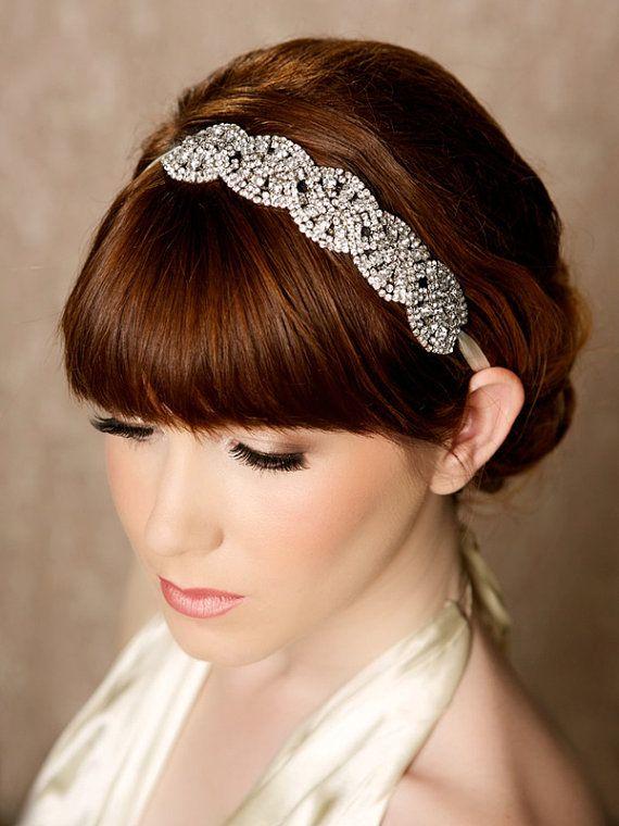 Silver Crystal Headband, crystal tiara, Bridal Halo, bridal Headpiece, Rhinestone Bridal Hair Piece, Tie On - CARMELLA SILVER