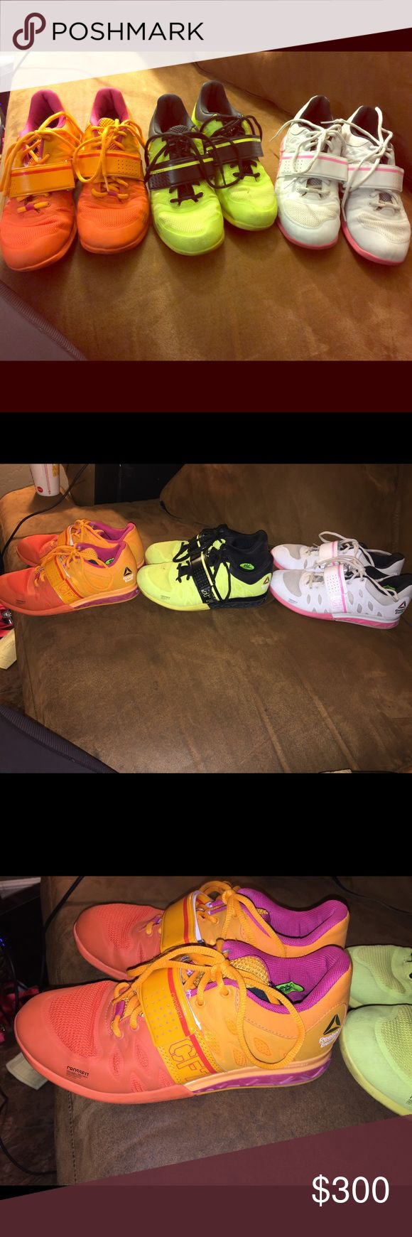 Reebok Crossfit Lifters 2.0 Reebok weightlifting shoes. They are in very good condition. The orange and yellow ones have been worn maybe 5 times and the pink ones around 10 times.  Size: Women's 6            I'd sell them for $100 each or all for $250 Reebok Shoes