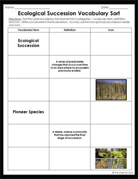 Ecological Succession Vocabulary Sort Ecological Succession Vocabulary Ecology