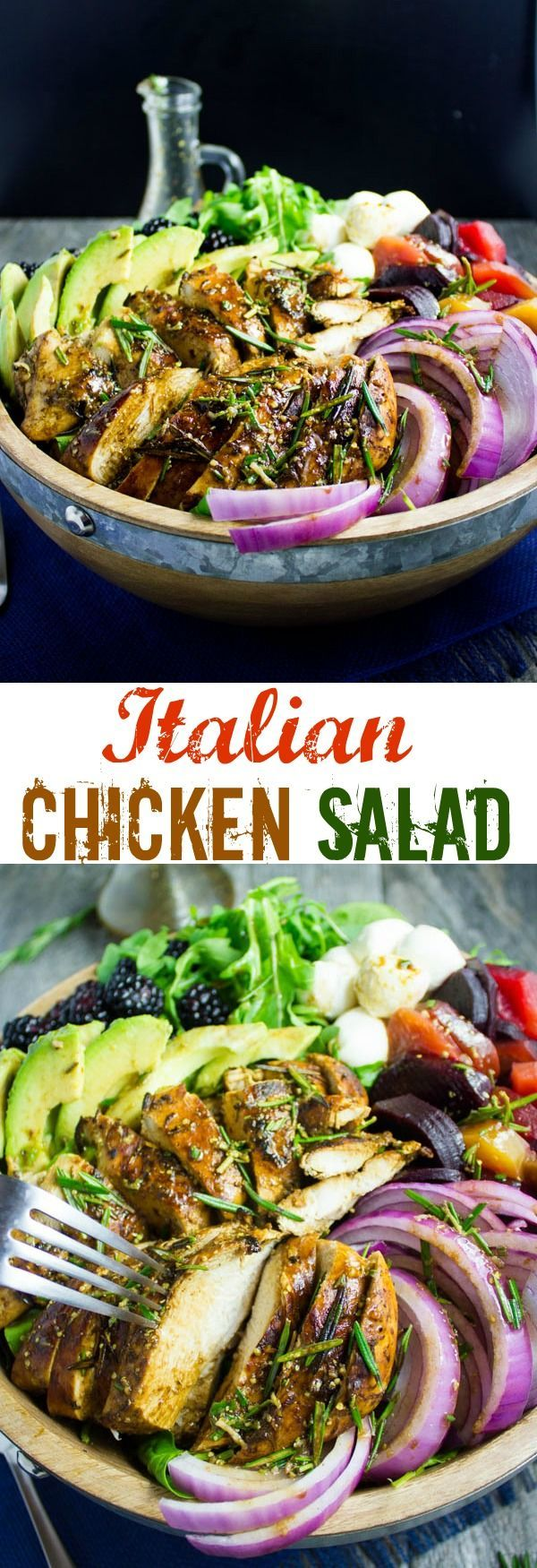 Italian Balsamic Chicken Salad Recipe. Cooking for one, two or a crowd--this easy and quick, super delicious and filling salad is all you need! Dressed with a Blackberry Balsamic Vinaigrette that pops up the flavors. Get this recipe today! http://www.twopurplefigs.com