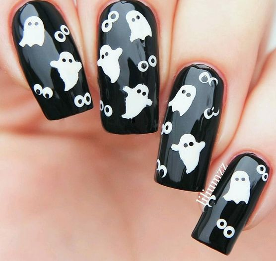 two different ghost designs included can also be used as nail stencils limited release 60 halloween nail decals in all - Halloween Easy Nail Art