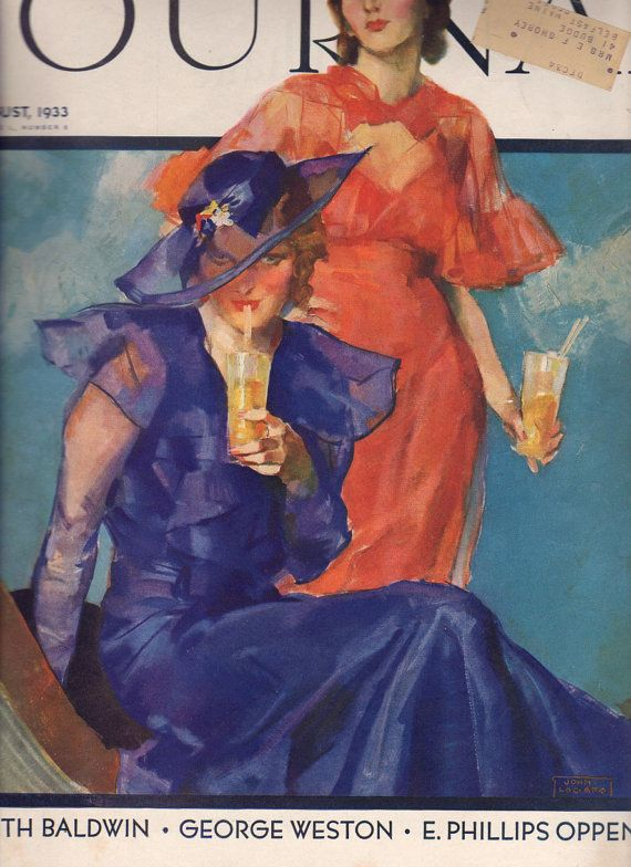 vintage ladies home journal magazine covers | Ladies Home Journal Magazine 1933 Fashion Cover, Art Deco style ...