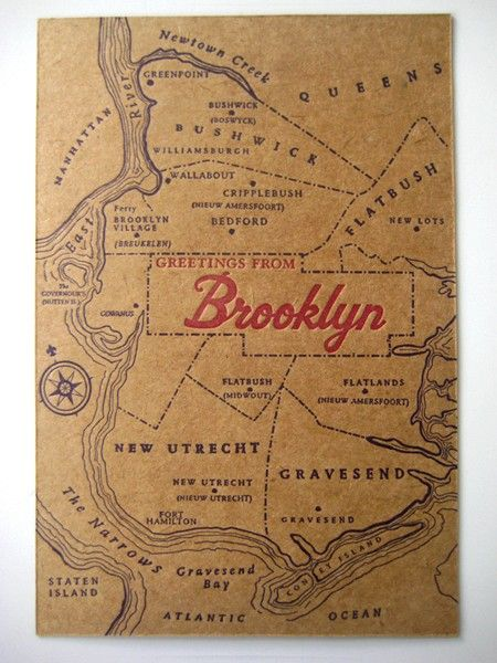 Greetings from Brooklyn  Letterpress Postcard by pepperpressny, $4.00