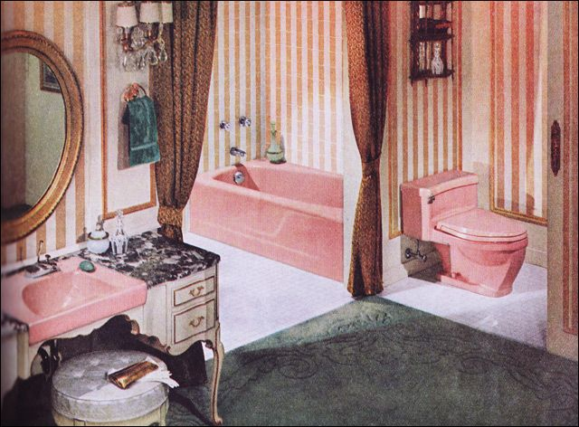 midcentury french provinicial bathroom -- pink toilet, sink, bath