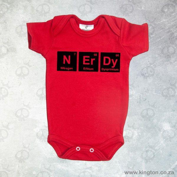 Nerdy - Red babygrow with periodic table symbols #Nerdy. #KingtonKustomKulture