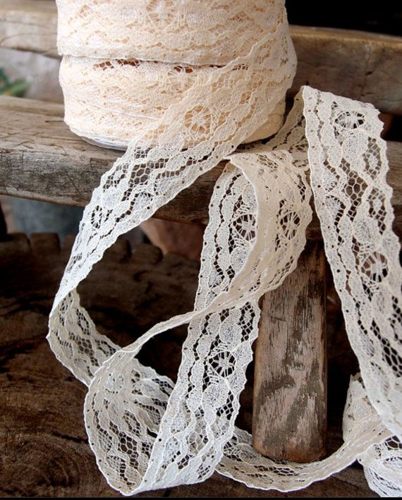 "1""x 25 Yards Ivory Chantilly Lace Ribbon"