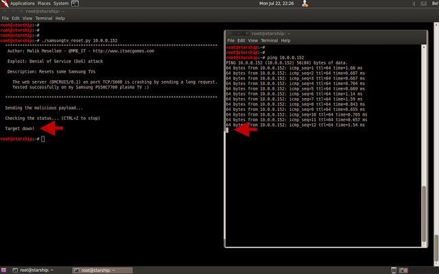 network-enabled @Carol Knutson TV vulnerable to DENIAL OF SERVICE ATTACK #ddos http://www.hackreports.com/2013/07/network-samsung-tv-vulnerable-ddos.html
