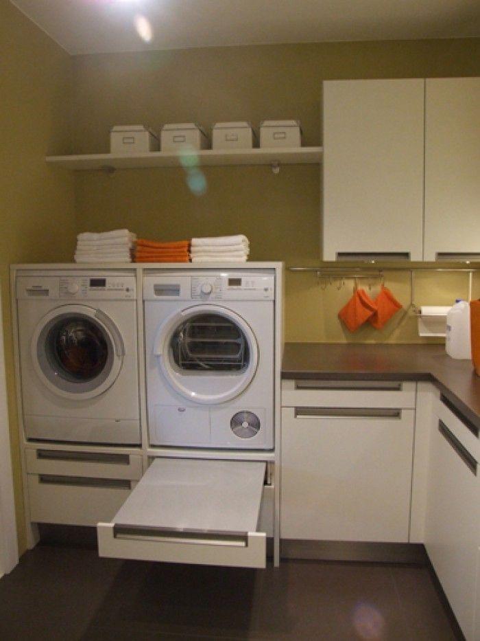 ideeen bijkeuken - mooie oplossing voor de wasmachine