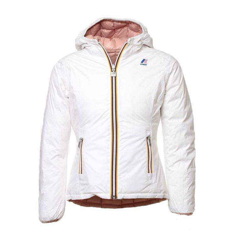 K-Way - Piumino Reversibile Bianco E Rosa - Iconico piumino per bimbe, bambine e ragazze 'Lily Thermo Plus Double' bianco e rosa delicato della nuova linea di #abbigliamento #Bambina e #Teenager firmata #K-Way #Junior. #annameglio #shop #online #piumino #moda #fashion #look #outfit #teen #kway