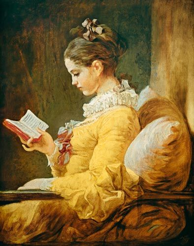 My mom had this hanging in her bedroom. I loved it and would spend oodles of time staring at it. A Young Girl Reading, by Jean Honore Fragonard