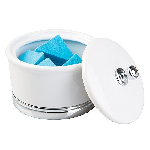 Bathroom Organization: mDesign Ceramic Bathroom Vanity Canister Jar for Cotton Balls, Swabs, Cosmetic Pads - Large, White/Chrome -- More info could be found at the image url.