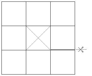 Dutá krychle z papírového pásku: Ze čtverce 9 x 9 si vystřihněte bílý pásek následujícího tvaru (pásek je vpravo pod polovinou rozstřižen). Nyní sestavte z daného tvaru dutou krychli.  Brainteaser: Create cube from this paper strip. Cut strip (containing 8 continual fields).