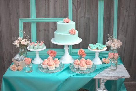 Coral and Mint Table