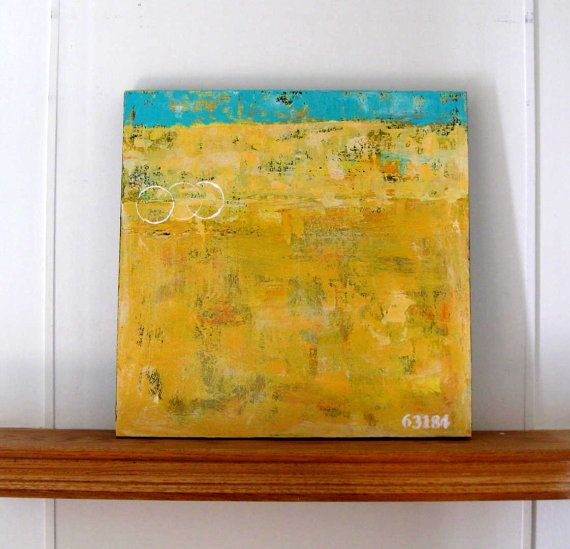 Yellow original abstract acrylic painting, Beach cottage decor, stencil numbers, turquoise, nautical canvas art, gift idea