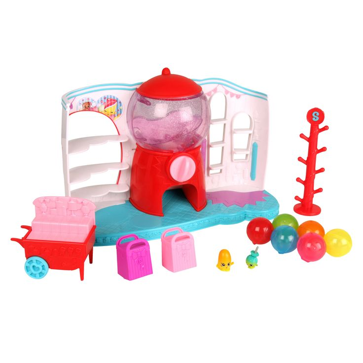 This Shopkins Food Fair Sweet Spot Playset features a gumball machine, 2…
