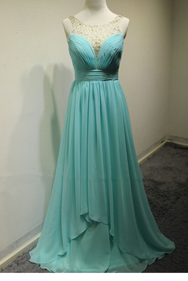 Custom Charming Chiffon Prom Dress,O-Neck Prom Dress, Beading Evening Dress,Chiffon evening Prom Dress,evening dresses,Prom Dresses, Cocktail Dresses, formal dresses,Wedding guests dresses