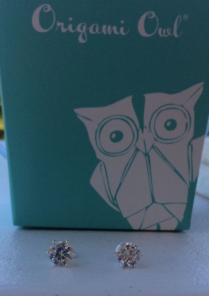 AUTHENTIC ORIGAMI OWL Swarovski Crystal Silver Stud Earrings NEW #OrigamiOwl #Stud