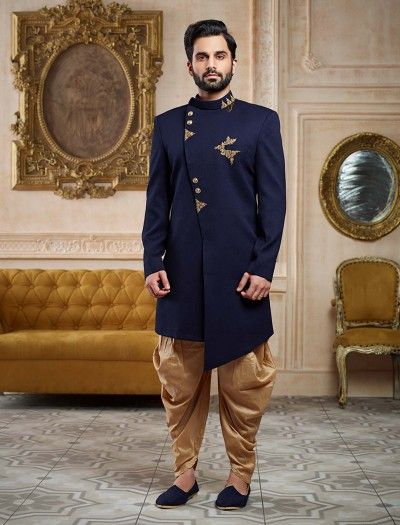 0ec5cb4702 Black Georgette Designer Saree Mens Sherwani, Blue Sherwani, Indian Groom  Wear, Western Outfits