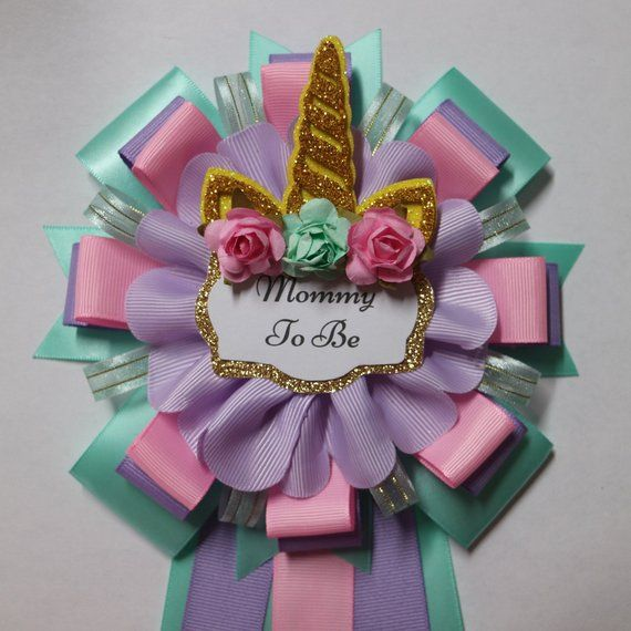Baby Unicorn Baby Shower Mommy And Daddy To Be Corsage Set