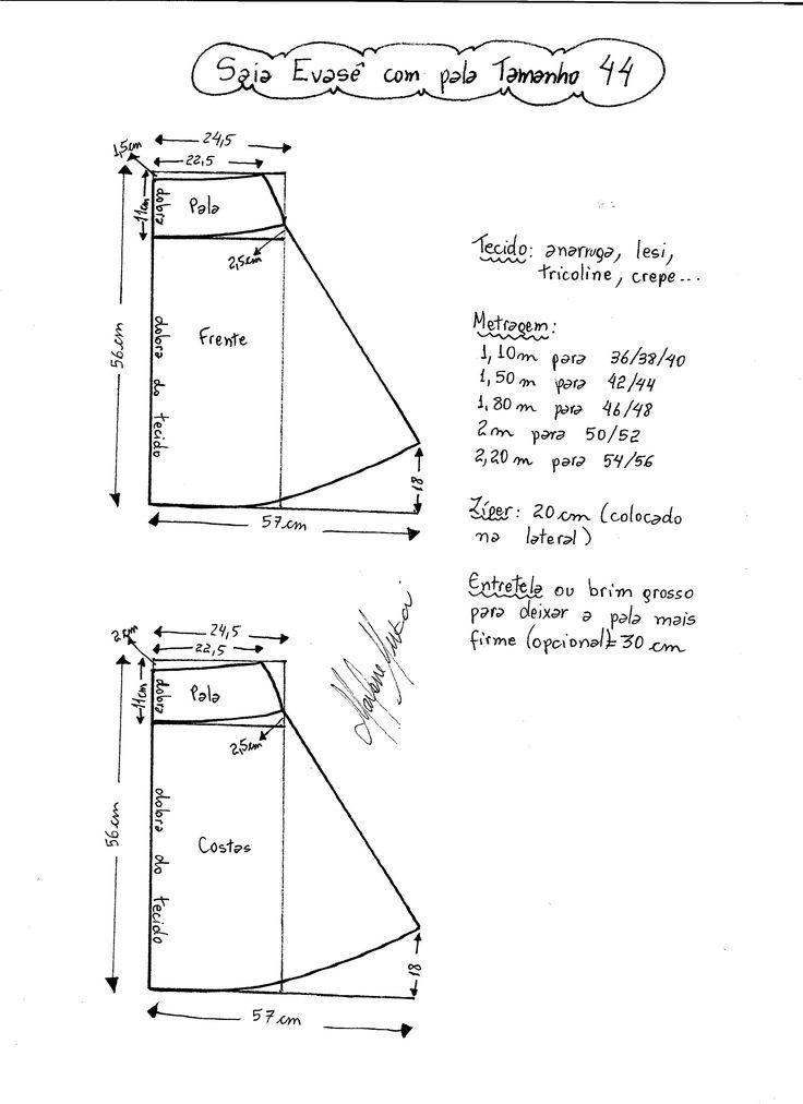 Esquema de modelagem de Saia Evasê com Pala tamanho 44.