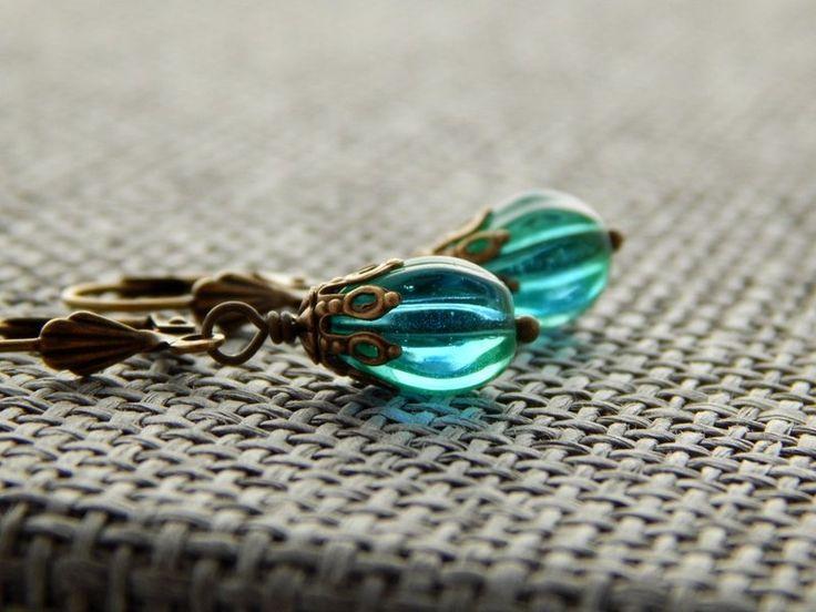 Ohrringe - Grün-Blaue Ombre-Tropfen von Perlenfontäne auf DaWanda.com