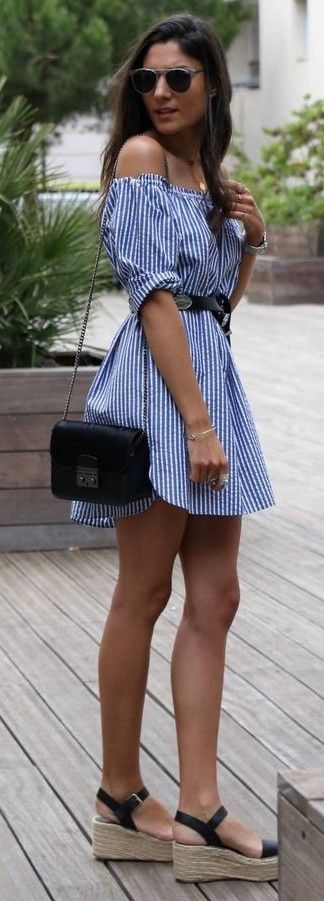 #summer #trending #outrfitideas  | Stripe Off The Shoulder Dress
