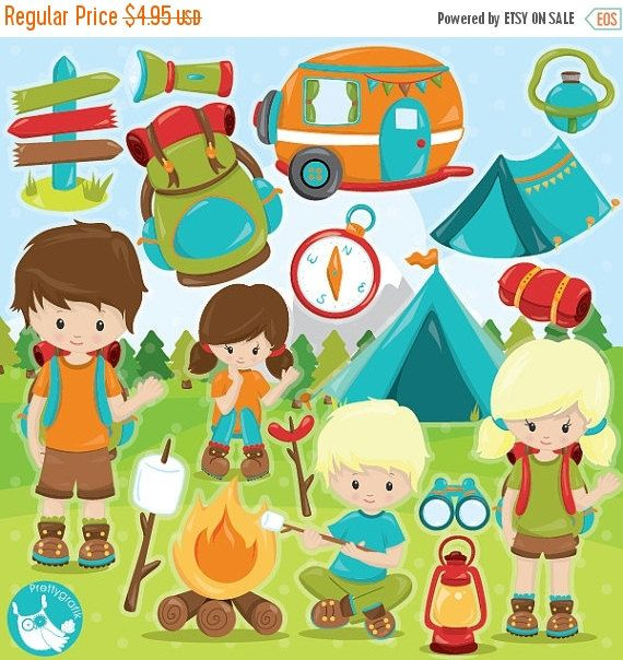 80% scout uit verkoop camping clipart commercieel gebruik, vector graphics, camping digitale illustraties, digitale beelden - CL993