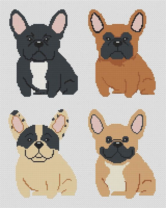 Four Cute Dogs Cross Stitch Pattern Dogs Design French Buldog