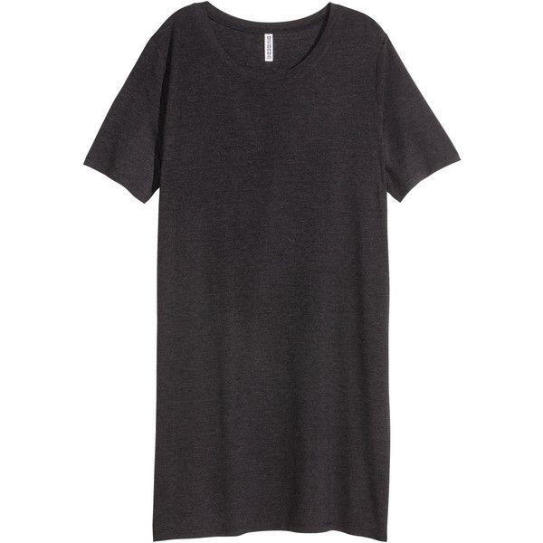 T-shirt Dress $14.99 (€13) ❤ liked on Polyvore featuring dresses, jersey tee dress, short sleeve t-shirt dress, t shirt dress, dark grey dress and short-sleeve dresses