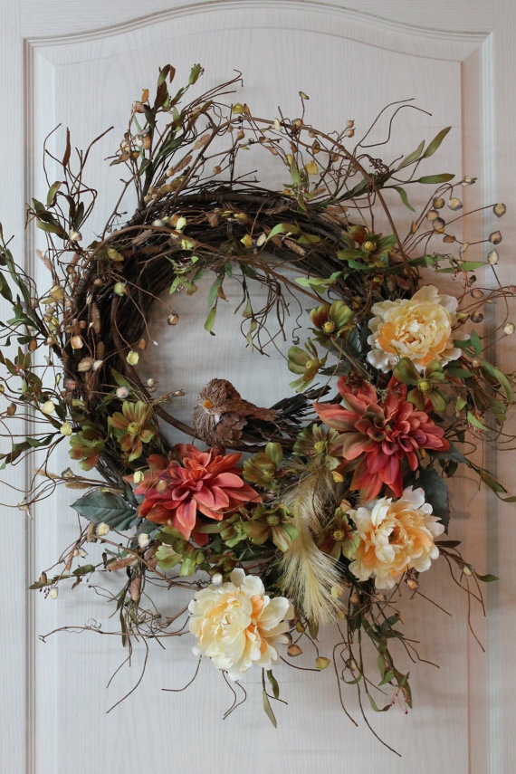 Country Wreath Twigs Wild Flowers Bird Dahlias by FloralsFromHome, $160.00