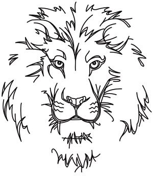 Minimal lines define the face of a fierce, peaceful lion. Downloads as a PDF. Use pattern transfer paper to trace design for hand-stitching.