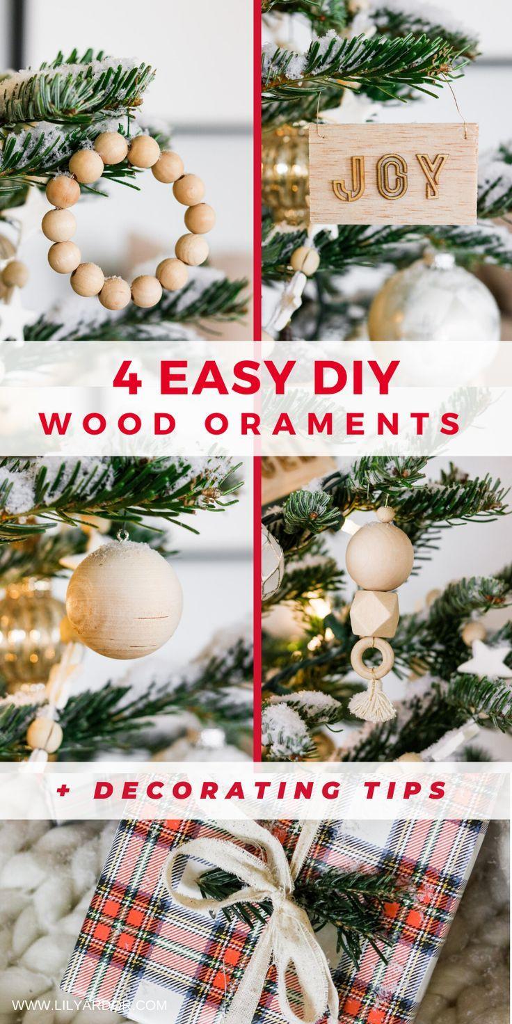 Diy Wood Ornaments 4 Ways Minimalist Tree Decor In 2020 Wood Christmas Ornaments Wood Ornaments Diy Christmas Tree