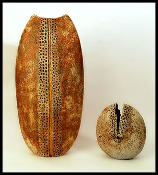 Alan Wallwork, stoneware very large vase with hand carved decoration and gold leaf accent and stoneware pod-form vessel with hand carved decoration.