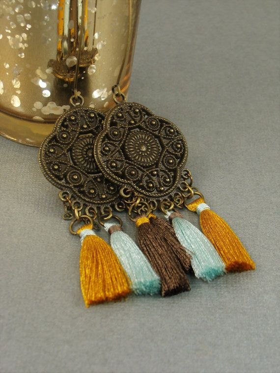 Tiny Tassel Earrings Chandelier Tassel Earrings Boho Chic Exotic Gypsy Jewelry…