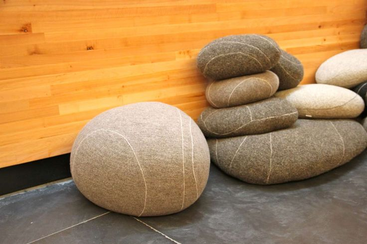 Pebble Pillows Floor ~ http://www.lookmyhomes.com/unique-view-and-functional-pebble-pillows/