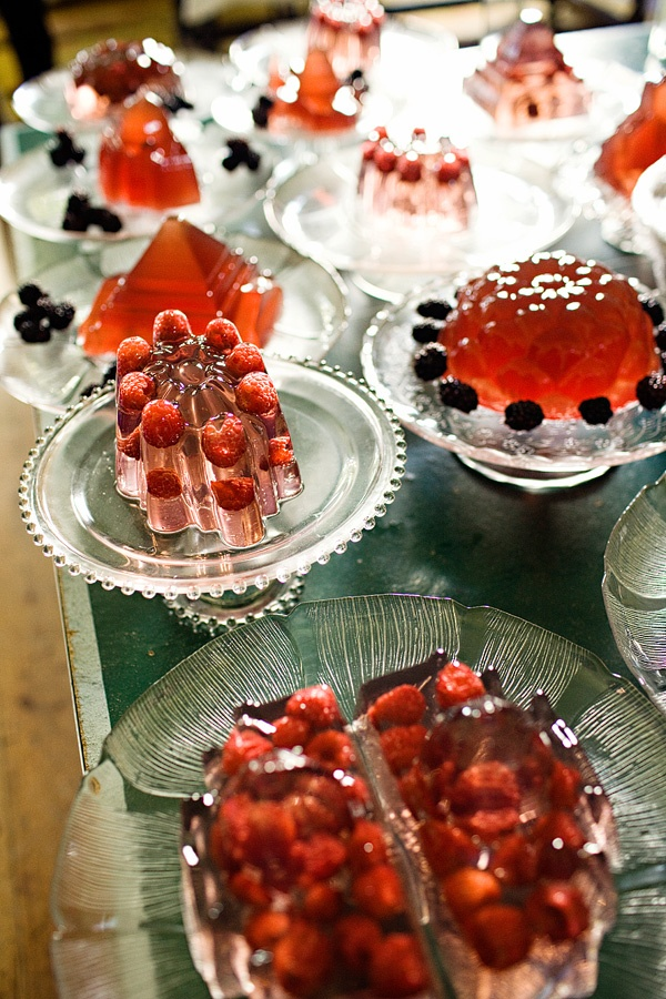 more fabulous jellies from Bompas and Parr on lovely vintage pressed glass...