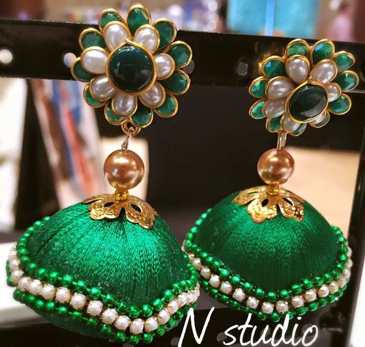 Silk thread jumka with pachi stud #silkthreadjewellery #silkthreadjewelleryqatar