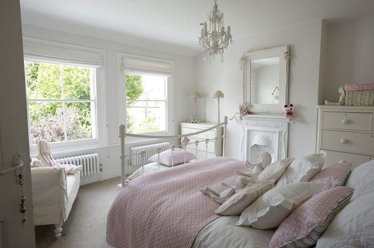 a perfect little girls cottage bedroom in white and pink - links and credits on The Paper Mulberry: Perfectly Pale