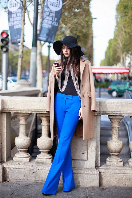 Electric blue wide trousers by p3cupcake, via Flickr