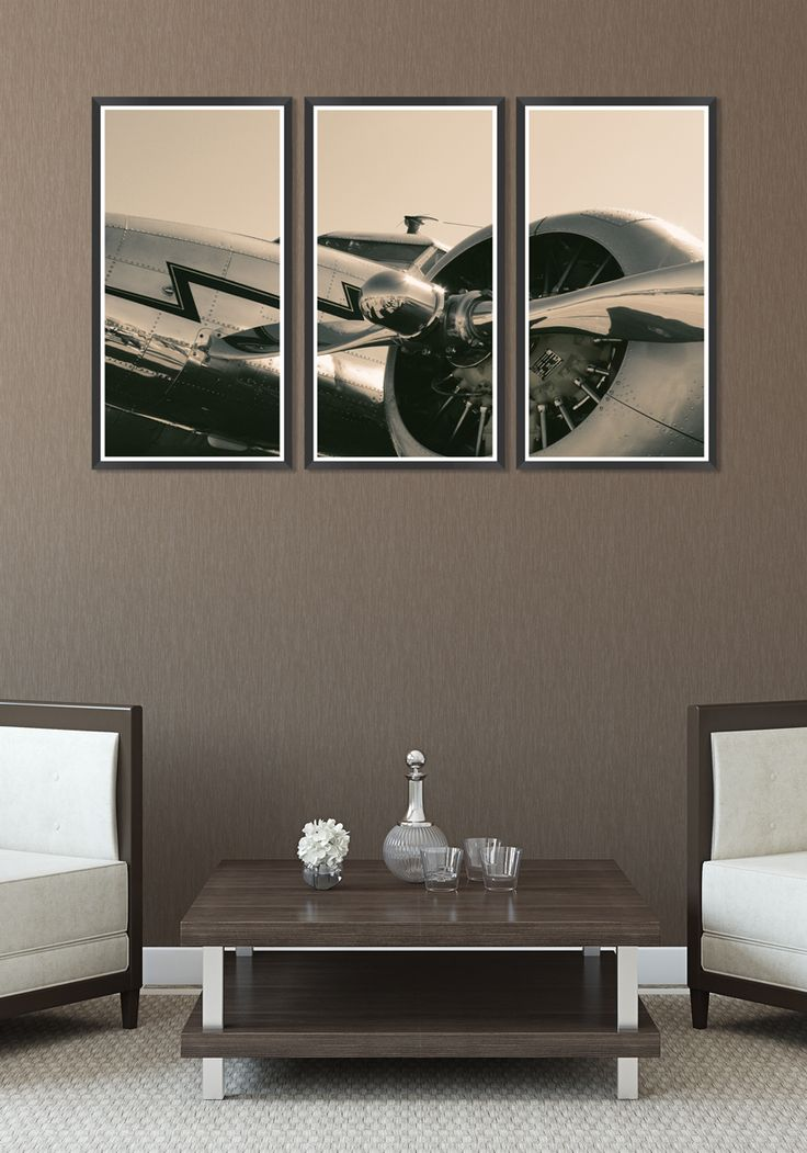 A majestic Vintage Propeller presented in a modern triptych poster art with black frame.