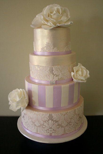Ivory and lilac damask cake