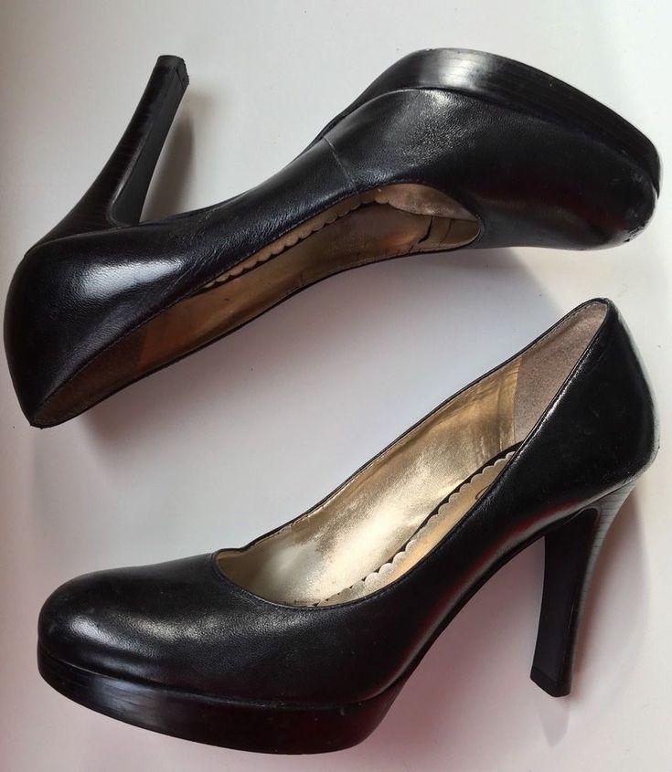 Jessica Simpson Black Leather Court Shoes UK 5 Platform Padded Insole High Heels  | eBay