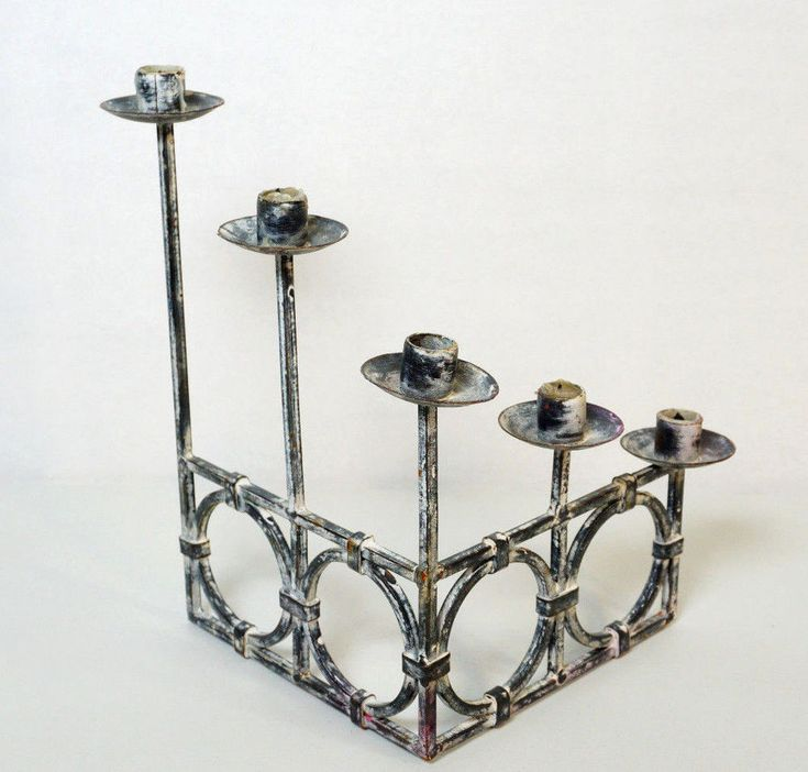 Fireplace Candelabra 90 Degree Tiered Rustic Black & White Gothic Candle Holder #Unbranded