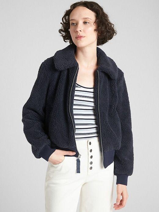 3e664903 Gap Womens Teddy Bomber Jacket Dark Night Welt Pocket, Faux Fur, Bomber  Jacket,