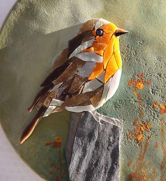Round table robin bird mosaic painting BIRDY 7