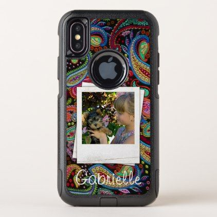 Fun Custom Paisley Floral Pattern Your Name Photos OtterBox Commuter iPhone X Case - pattern sample design template diy cyo customize
